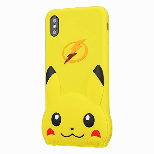 """TopSZ Yellow Pikacu Case for iPhone XR 6.1"""",Silicone 3D Cartoon Hero Animal Cover,Kids Girls Teens Boys Man Animated Cool Fun Cute Kawaii Soft Rubber Funny Unique Character Cases for iPhone XR 6.1"""""""