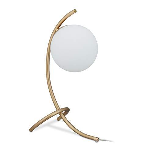 Relaxdays Tischlampe Kugel, geschwungen, Metall & Glas, E27, Lampe Schlafzimmer, Wohnzimmer, Nachttischlampe, gold/weiß, 10034190