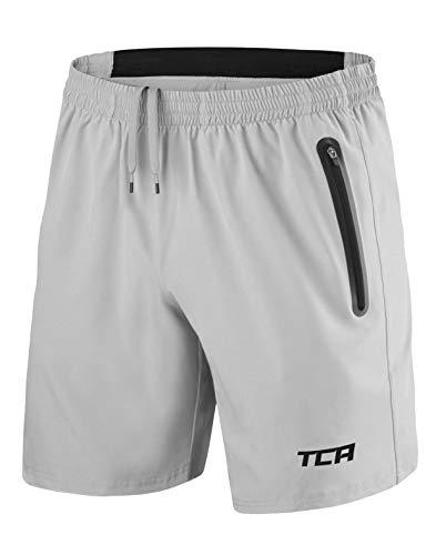 TCA Elite Tech Herren Trainingsshorts für Laufsport mit Reißverschlusstaschen - Grau - L