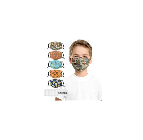 Mini-ons Desp-icable Me Cartoon Washable Masks 5PC with 10 Filters Adjustable Face Mask Black Reusable Balaclava Cover Design for Kids Boys Girls Childrens Designs Balaclava