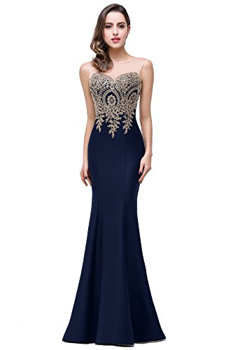 Lace Appliques Sleeveless Mermaid Prom Dreses for Women 2016 Long, 8, Navy
