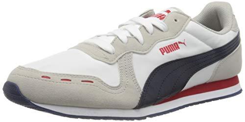 PUMA Cabana Run, Zapatillas Unisex Adulto, Blanco White/Gray Violet/Peacoat/High Risk Red, 38 EU