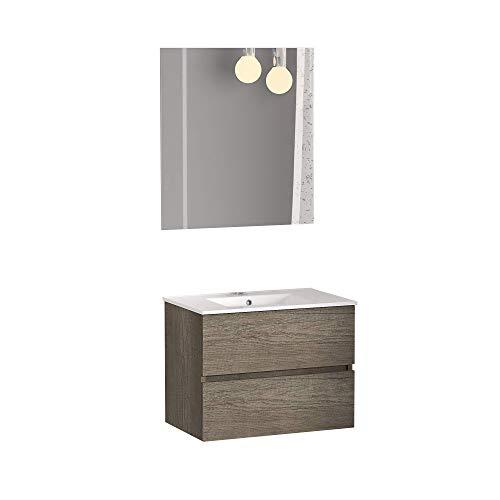 Baikal 830134006 Conjunto de Muebles de Baño con Lavabo y Espejo, Suspendido a la Pared, Dos Cajones, Roble, 70 X 55 X 46 cm, Nebraska
