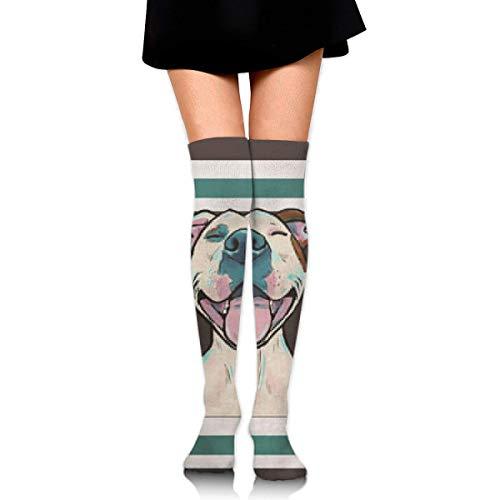 winterwang Calcetines hasta el muslo Pit Bull Cartoon Pit Bull Smile Calcetines largos hasta la rodilla Calcetines altos para mujeres