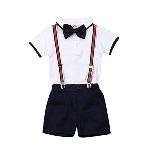 Milumilu Completo Neonato Gentleman 3 Pezzi Camicia / Pagliaccetto + Pantaloni + Bretella Tuta Bimbo Bambino Cerimonia Nozze Elegante Suit (B-Bianco&blu, 2-3 anni)