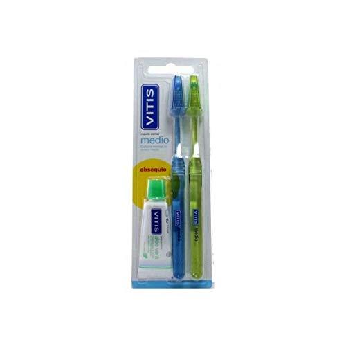 Vitis Duplo Medio, Cepillo Cabezal Normal Dureza Media y Obsequio Pasta anticaries, 15 ml