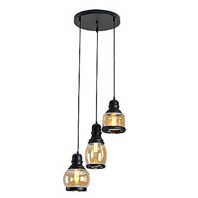 BRIVOLART Industrial 3-Light Pendant Light Black Finished Ceiling Wall Light Glass E26 Base Edison Island Light Chandelier(Exclude Bulbs)