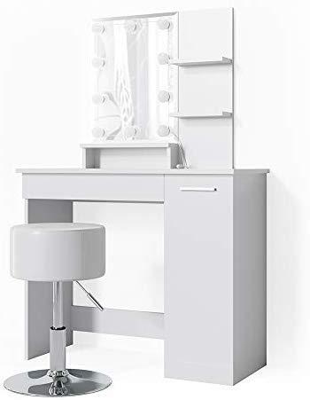 Vicco LED Schminktisch Julia Frisiertisch Kommode Frisierkommode Schminkkommode mit Beleuchtung und Hocker (Weiß)