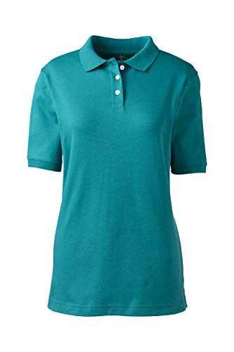 Lands' End School Uniform Women's Short Sleeve Interlock Polo Shirt Large Teal Breeze