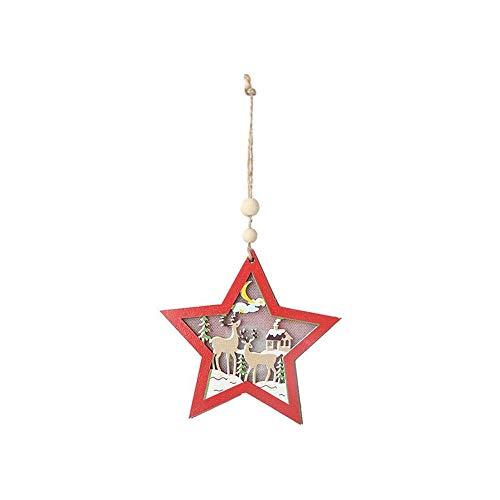 SYXX 2019 nuevas decoraciones de Navidad, madera, adornos de Navidad, los ornamentos brillantes, colgantes con luces, Navidad decoraciones caseras, ahuecado color de Santa Claus colgantes, Resplandeci