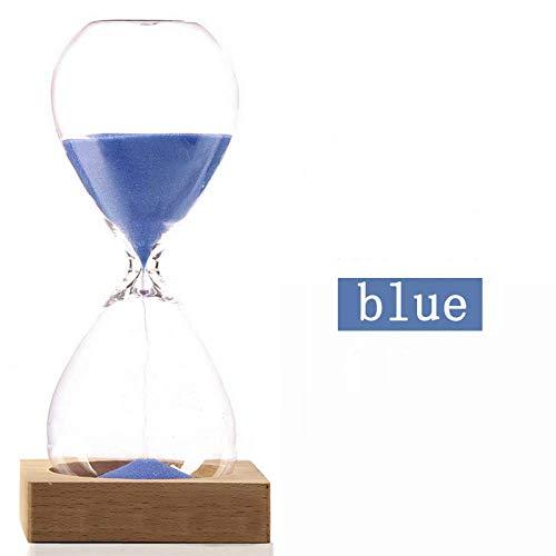 DIHAO Temporizadores de Arena, Reloj de Arena de Cristal Creativo de 5 Minutos, Reloj de Arena Giratorio con Soporte, Temporizador de Arena Azul para Regalos de Cocina y Escuela