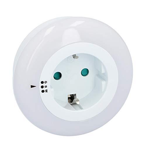 UNITEC LED-Nachtlicht mit Steckdose | Orientierungslicht | 3 Farbtöne | Dämmerungssensor | Zwischenstecker mit Beleuchtung | rund