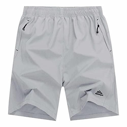 BIYLACLESEN Mens Jogger Shorts Basketball Shorts for Men Running Shorts Men Workout Shorts Men with Pockets Hiking Shorts Men Quick Dry Mens Shorts Casual Lightgrey