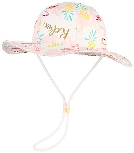 GEMVIE-Cappello da Pescatore Rosa Bambini 3 Mesi- 8 Anni Cartoon Stampa Animali Cappello da Sole Anti-UV Pieghevole in Cotone Berretto Cappelli da Esterno (Circonferenza 54cm)