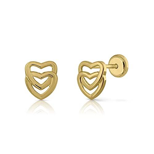 Pendientes Oro de Ley Certificado.Doble corazón. Niña/Mujer. Cierre de seguridad. Medida 7 x 8.5 mm. (1-4143)