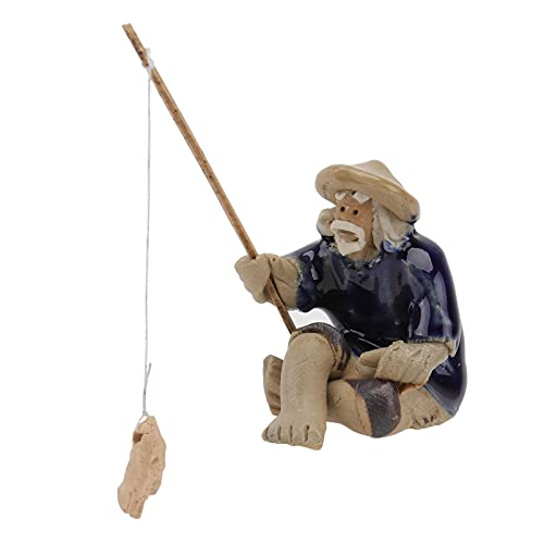DOITOOL Miniature Fisherman Figurines Mini Fishing Garden Statue Bonsai Figurine Ornament for Micro Landscape Fish Tank Sand Fairy Garden Decor