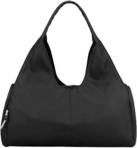 Bolsa de Deporte Bolsa de Viaje Bolsa de Fitness con Compartimento Zapatos y Compartimento húmedo Bolsa de Baile de Fin de Semana Impermeable Bolsa de Yoga para Mujeres (Negro)