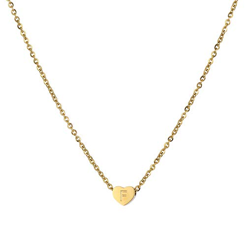 HORHEAR Mini Collar Colgante de Acero Inoxidable en Forma de Corazón Chapado en Oro de 18 Quilates 26 Letras Collar de Cadena de Clavícula para Niñas Mujeres (F)