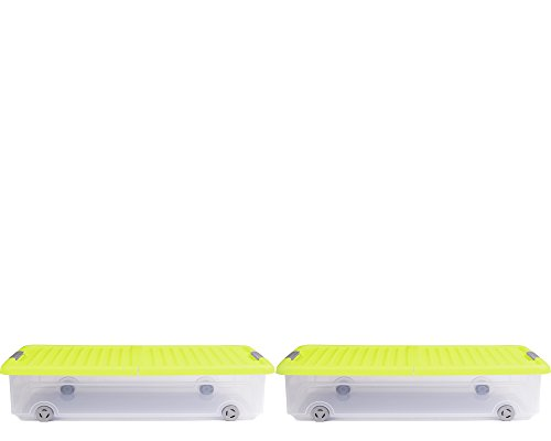 Ondis24 Unterbettbox Rollerbox Aufbewahrungsbox 35 W (2 Stück, Gelb)