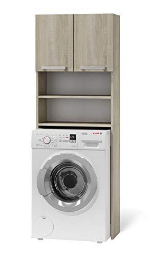 BIM Furniture Badezimmerschrank für Waschmaschine Paulina 61x183 cm Schrank Badezimmer Regal Kommode Badschrank Badkommode (Sonome Eiche)