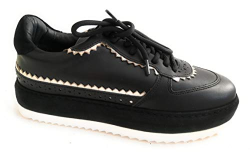 Twin Set Simona BARBIERI Scarpa Donna Pelle Sneaker Nero Platform (37 EU)