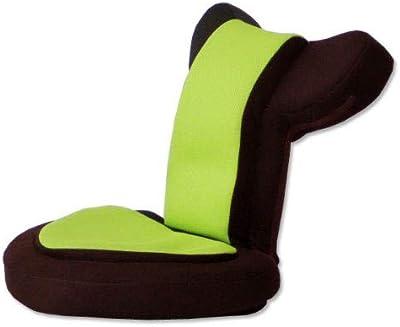 タンスのゲン 座椅子 ゲーム座椅子 低反発 メッシュ 14段 ゲーミングチェア リクライニング 肘掛け 座面51cm 高さ41cm バディー グリーンブラウン 16210002 08AM 【65701】