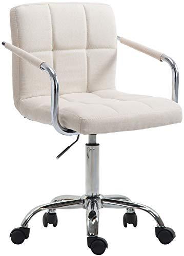 CLP Bürostuhl Lucy V2 mit Stoffbezug I Schreibtischstuhl mit hochwertiger Polsterung I Höhenverstellbarer Bürosessel mit Leichtlaufrollen, Farbe:beige