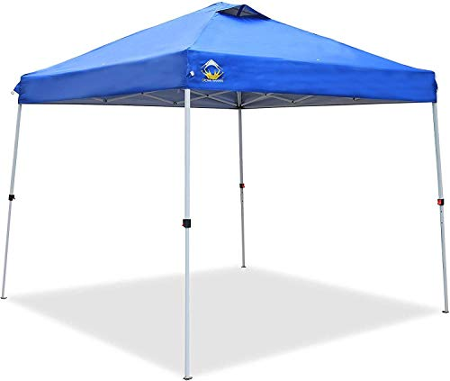 CROWN SHADES Pop up Canopy, Slant Leg Portable Outdoor Canopy, 11x11 Base and 9x9 Top Instant Shelter Canopy, Blue
