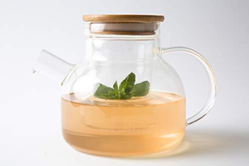 Umami Original Tetera Kyoto de cristal 850 ml – Multifunción: Tetera, Tetera, Tetera, Tetera, Jarra de agua o de naranja; apta para lavavajillas | Durable, Sano y Diseño