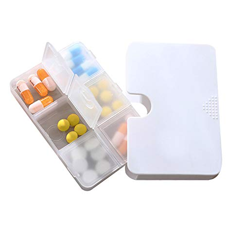 Portable Pill Organizer, 6 Compartments Travel Pill Case for Purse or Pocket -Small Pillbox Dispenser Home Travel Supplement Holder to Hold Medicines, Cod Liver Oil, Supplements (6 Compartments)