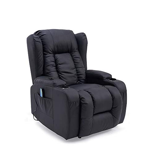 Panana Electric Recliner Chair Faux Leather Armchair Massage Heated Gaming Adjutable Reclining Chair Single Padded Seat Recliner Leather Single Sofa for Living Room Office Lounge Recliner Black