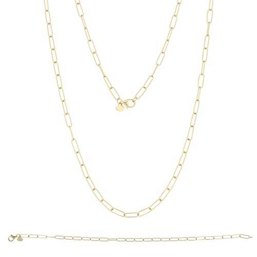 Gioiello Italiano - Set in 14kt geel goud, armband en ketting, voor vrouwen