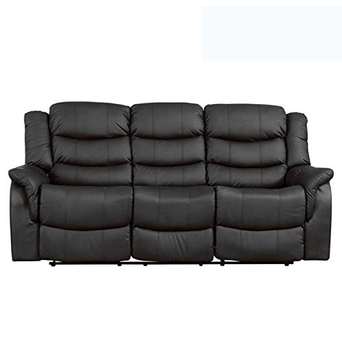 Sofa- Collection Andalucia Leather Reclining Suite - 1/2/3 seat recliners available in multiple combinations - Black/Brown/Burgundy/Cream/Grey - (3 Seat Recliner, Black)