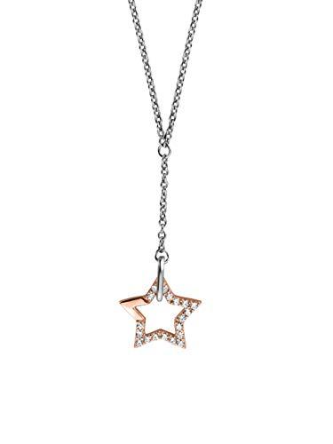 Esprit ESNL00451342 Damen Collier Vivid Star Bicolor Rose Weiß Zirkonia 45 cm
