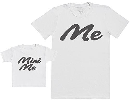 Me & Mini Me - Regalo para Padres y bebés en un Camiseta para bebés y una Camiseta de Hombre a Juego - Blanco - L & 0-3 Meses