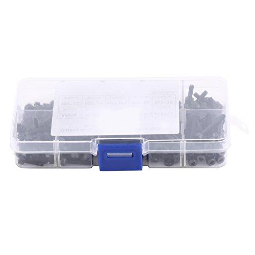 280pcs Vis Ecrou Boulon Tête Hexagonal Cylindrique en Acier Inoxydable Niveau 12.9 avec Boîte de Rangement M3 x 4/5/6/8/10/12/16/20/25mm