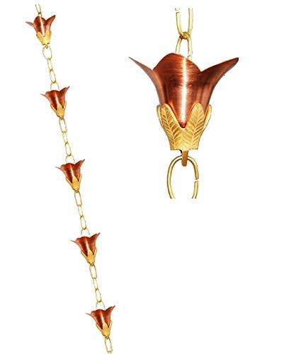 U-nitt 8–1/2Füße Reines Kupfer Regen Kette: Blume mit geprägt Messing 8,5ft Länge # 5511