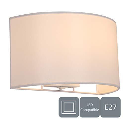 Harper Living 1130 - Lampada da parete con interruttore, Paralume in tessuto semicircolare, Compatibile LED, 1xE27, Bianco (avorio)