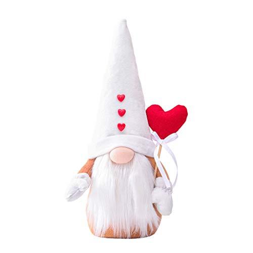 LAOLEE Happy Valentine's DayRed Love Heart Gnomo hecho a mano sueca Tomte muñecas de felpa, Día de San Valentín, decoración de muñeca sin rostro