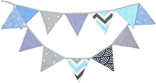 PREMYO Banderines de Tela Infantiles - Guirnaldas Decoración Habitación Bebé - Triángulos Colores Gris Menta