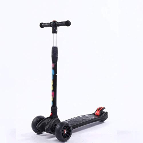 SZNWJ ygqtbc Kick Scooter Plegable for niños, de 3 Ruedas LED Parpadeante Planeador Patinete con Altura Ajustable y Plegable Manillar, Slip Cubierta Ancha for Niños Niñas 3-12 (Color : Black)