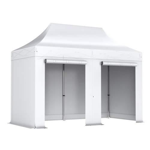 Interouge - Pavillon Faltzelt 2x4m mit 4 Seitenwände in Polyester 300g/m² mit PVC-beschichtet - Aluminium Zelt Marktstand Marktzelt Gartenzelt Messestand - Weiß
