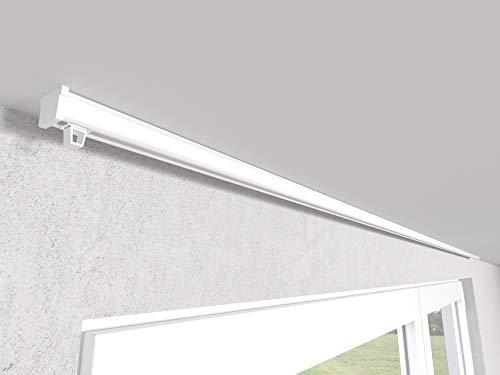 Market-Alley Vorhangschiene Aluminium Weiß/Schwarz Gardinenschiene ; C 1-läufig ; 120cm-600cm. Für Kräuselband Gardinen oder Schiebevorhang (nur Weiß Gardinenschiene ; 120cm)