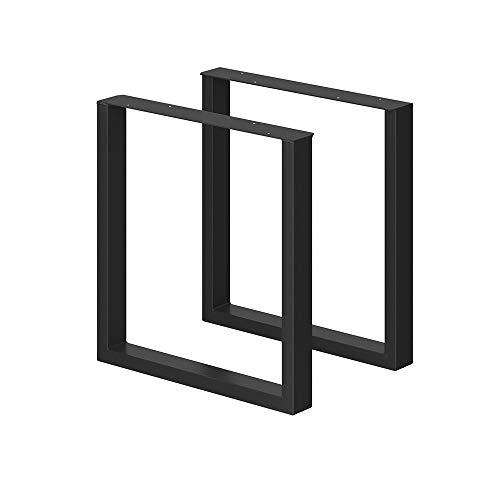 VICCO LOFT Tischbeine Möbelfüße 2er Set Tischkufen Schwarz Klarlack pulverbeschichtet (72x70, schwarz pulverbeschichtet)