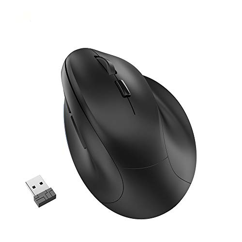 Wireless Vertical Ergonomic Mouse - BPBZONE Rechargeable 2.4GHz Optical Ergonomic Mice : 3 Adjustable 800/1200/1600 DPI 6 Buttons, for Laptop, PC, Computer, Desktop, Notebook etc, Black