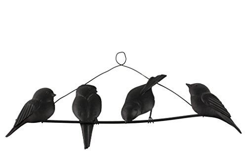 TS Wand-deko Gardendeco Happy Birds Iron, pulverbeschichtet, schwarz, 56 x 2 x 14 cm, 134421