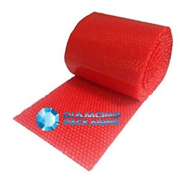 Diamond Packaging   Rollo de papel de burbujas antiestático (500 mm x 100 m), color rojo Ideal para proporcionar protección física en tránsito por electrostática envío rápido