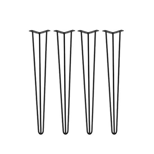 ZXL Meubelpoten met krachtige haarspelden, metaal geschilderd ijzer, voor koffietafel, bijzettafel, bank, bureau, 4 stuks, zwart