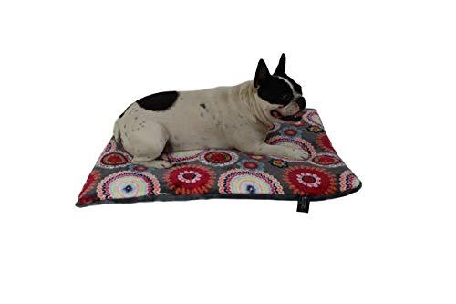 HS-Hundebett gepolsterte Hundedecke in 6 Größen I Qualität Made in Germany - waschbar bei 40° - trocknergeeignet I weiche Kuscheldecke für große & kleine Hunde (45 x 65 cm, Mandala Rot)