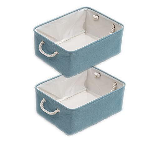 Swadal Juego de 2 cestas de almacenamiento plegables de lino con asa, cesta de almacenamiento decorativa con asa, para habitación de los niños, salón, oficina (azul, 41 x 31 x 20 cm)